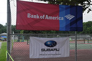 Bank of America and Subaru of America banners