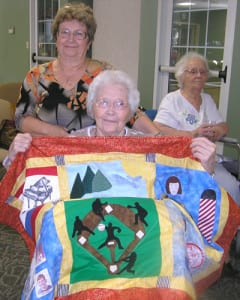 HeART and Health Seniors displaying custom made quilting