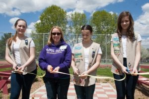 Ribbon cutting ceremony for Girl Scout project