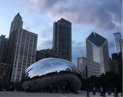 """The conference gave me a lot to reflect on. Visiting Cloud Gate, one of Chicago's icon sculptures by artist Anish Kapoor. His art expresses the idea that """"The experience of opposites allows for the expression of wholeness."""""""