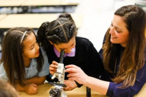 2 students with teacher looking into microscope